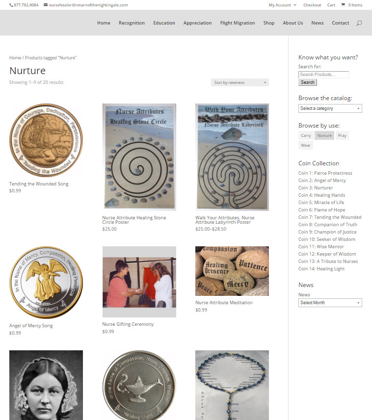 screenshot of the shop page at return of the nightingale dot com